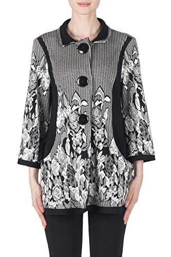 Joseph Ribkoff Black/White Jacquard Swing Coat Style 183663