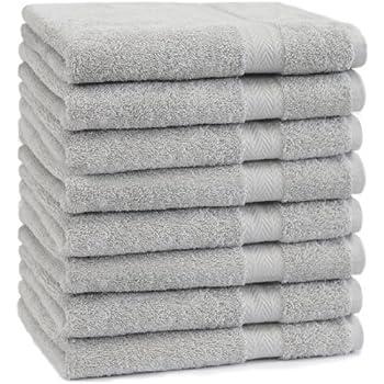 Betz Lot de 8 serviettes taille 50x100 cm 100% coton Set de 8 serviettes de toilette Premium color gris argenté