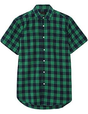 JEETOO Camisa Hombre a Cuadros Manga Corta Casual Moda Elegante para Caballero