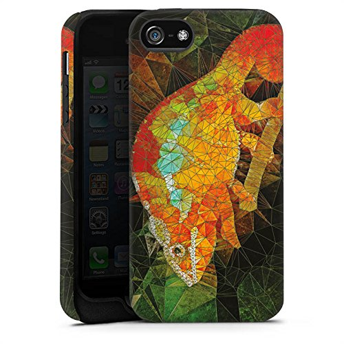 Apple iPhone X Silikon Hülle Case Schutzhülle Chamäleon Echse Muster Tough Case matt