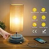 Kohree Lampada da Comodino Touch USB Lampada da Tavolo con Porta di Ricarica Lampadina Inclusa Luce Dimmerabile con Paralume in Tessuto per Camera da Letto