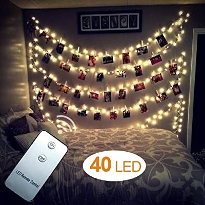 WEBSUN 40 LED Photo Clips String Lights Battery Operated Remote Control Wall Fairy String Lights for Bedroom Hanging Photos, Cards and Artworks (5M/16.5ft.Warm White) - low-cost UK light shop.