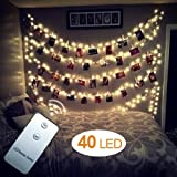 WEBSUN 40 LED Photo Clips String Lights Battery Operated Remote Control Wall Fairy String Lights for Bedroom Hanging Photos, Cards and Artworks (5M/16.5ft.Warm White)