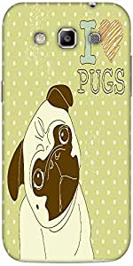 Snoogg I Love Pugs Cute Little Pug On Polka Dot Background Solid Snap On - Ba...