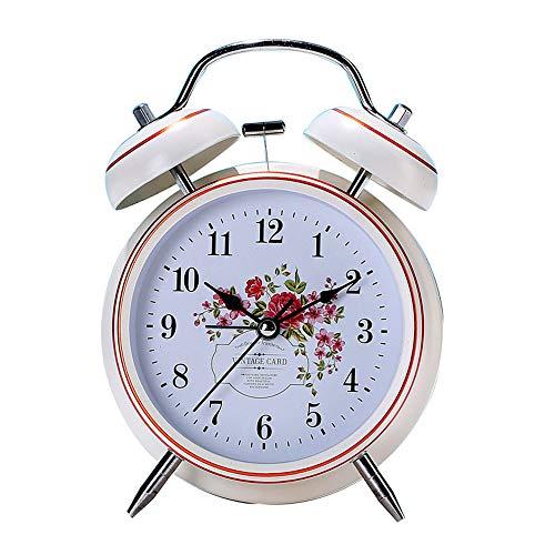 JGcabin European Minimalist Creative Pattern Mute Nachtlicht Metall Klingeln Wecker Schwarz Beige Weiß, Geeignet für Den Schlafzimmer Gebrauch Schwarz weiße Blume 13.5cm*9.8cm*5.6cm