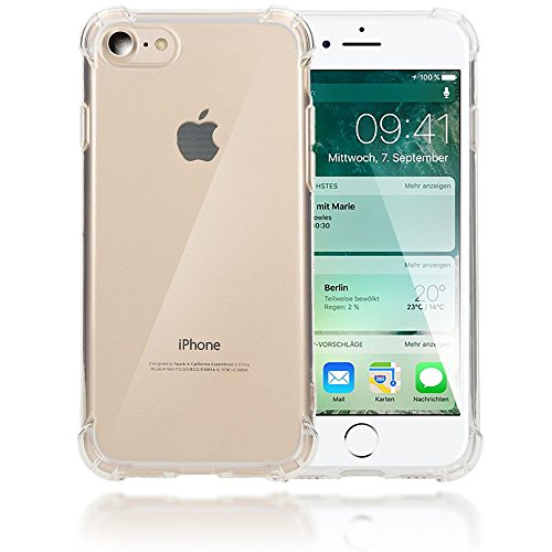 iPhone 8 / 7 Coque Silicone de NICA, Ultra-Fine Housse Protection Transparente Cover Slim Etui Résistante, Mince Telephone Portable Clear Gel Case Bumper Souple pour Apple iPhone 7 / 8 - Gold Or Transparent