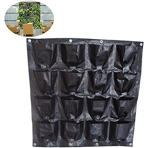 16bolsillo para colgar de pared macetero Vertical Garden Planter pared plantar flores crecer bolsa para verduras balcón interior o al aire libre uso, 16