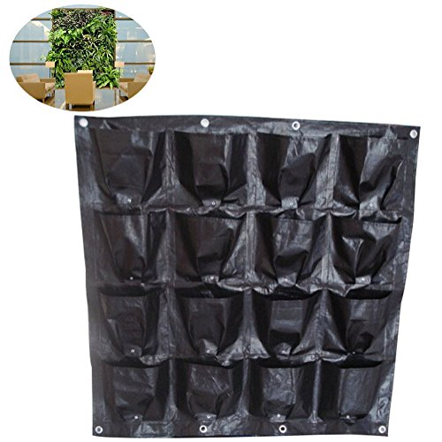 16 poche murale Fleurs Pot de fleurs pour jardin vertical mural Fleur Sac de plantation pour légumes plantation balcon utilisation à l'intérieur ou à l'extérieur, 16 pockets