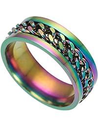 Ogquaton Anillo de titanio de acero inoxidable Anillo de cadena giratorio Anillo giratorio Anillo giratorio de boda para…