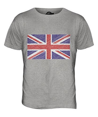 CandyMix Großbritannien Kritzelte Flagge Herren T Shirt Grau Meliert
