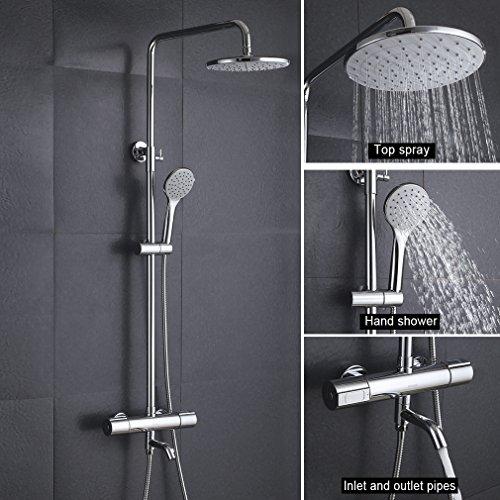 KINSE Duschsystem Thermostat Höhe Verstellbar Duschset Regendusche inkl.Rainshower Handbrause Duschstange für Bad/Badewanner