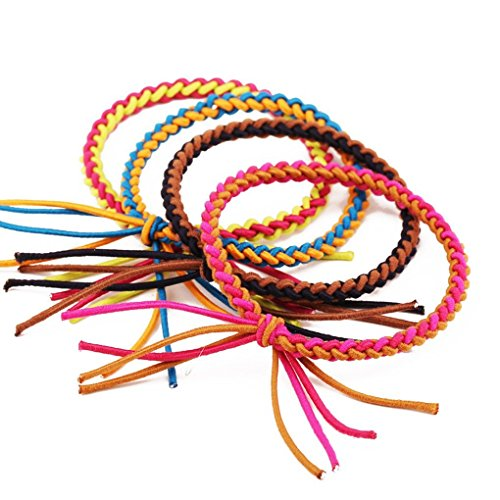 cuhair (TM) 4 pièces assorties de couleur femmes fille Force Queue de cheval élastique de cheveux Cravates bandes Corde en caoutchouc ou accessoires