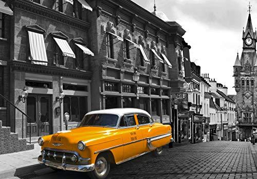 wandmotiv24 Fototapete Taxi Stadt London XS 150 x 105cm - 3 Teile Fototapeten, Wandbild, Motivtapeten, Vlies-Tapeten Oldtimer, Auto, England M1306
