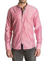 Sinigual - Camisa de rayas de hombre, puños reversibles y cuello americano abotonado