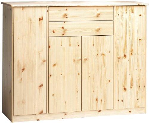 Steens Mario Kommode, 4 Türen, 2 Schubladen, 150 x 121 x 47 cm (B/H/T), Kiefer masssiv, natur lackiert (Kommode 4 Griffe)