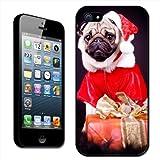 Fancy A Snuggle - Custodia rigida a scatto per iPhone 5/5S con immagine di un carlino vestito da Babbo Natale