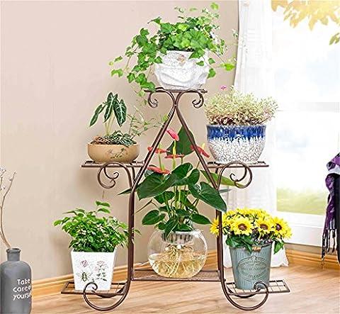 DELLT- Européen - Style Iron Multi-Layer Green Radix Orchid Multi-Functional Flower Shelf Balcon Living Room Intérieur Pots de plancher ( Couleur : Bronze , taille : 83*23*80cm )