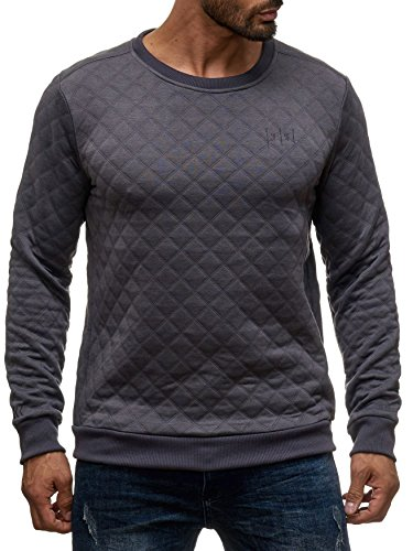 Sky Rebel Herren Pullover O-Neck Rauten Shirt Steppmuster, Farben:Dunkelgrau, Größe Pullover:M
