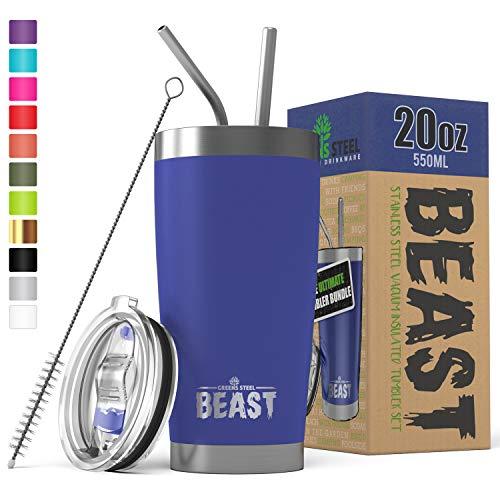 Le gobelet BEAST de 20oz en acier inoxydable isolé double paroi Mug de voyage avec couvercle anti-éclaboussures, 2 pailles, brosse de canalisation et paquet de boîte-cadeau (20oz, Bleu Royal)