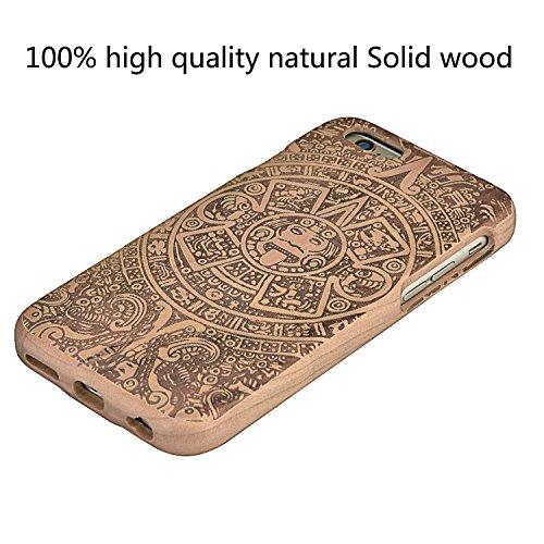 Wooden Case Cover,Vandot Unico Reale Handmade Legno [Naturale WoodBack Lavorato Custodia] Per iPhone 6 Plus / 6S Plus 5.5 Pollici - [Cranio] Style 14