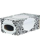 Bankers Box 4480601 Style Series Schuhbox groß mit Fenster aus 100% recyceltem Karton 4-er Pack, schwarz/weiß