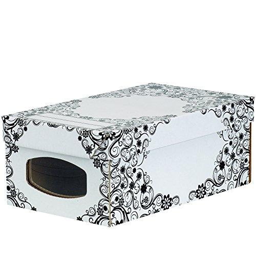 Bankers Box 4480601 - Pack de 4 cajas de cartón multiusos, 39 x 15 x 23 cm, con ventana frontal, color blanco y negro