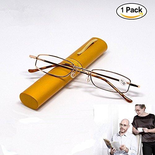 Tragbare Metall Folding Lesebrille M?nner Frauen Leser Unisex Klar Vision Tasche Brillen Brillen Mit Pen Tube Case - Zuf?llige Farbe +3.0 (Frauen Case Zwei Pocket)