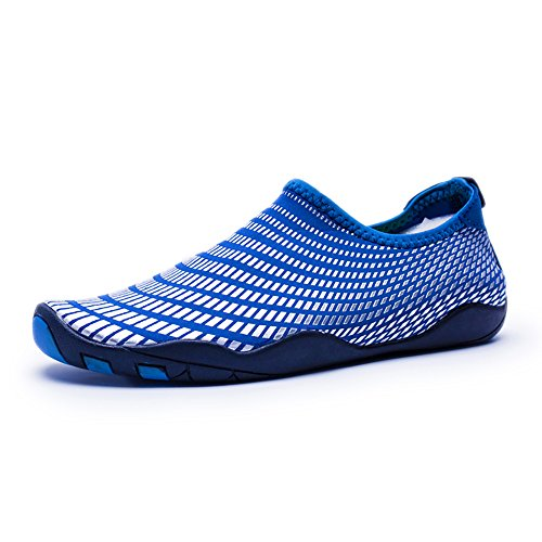 Water Shoes Mens Womens Quick Dry Sports Aqua Shoes Unisex Swim Shoes with 14 Drainage Holes for Swim,Walking,Yoga,Lake,Beach,Garden,Park,Driving,Boating(Blue-GZ,8UK/42EU)
