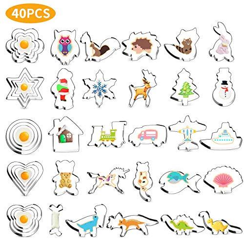 Joyoldelf Ausstechformen 40-teilig, Keksausstecher Weihnachten Dino Plätzchen Ausstecher Tier Keks Ausstechform Set für Kinder