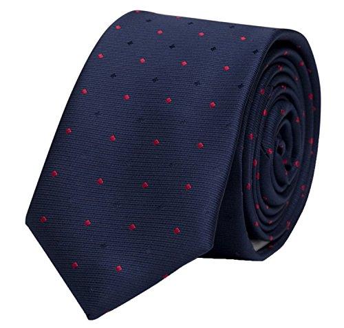 Fabio Farini dunkelblaue 8 cm Krawatte mit blauen und roten Punkten, passt zu fast jedem Anzug