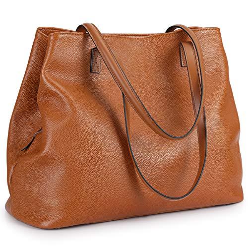 S-ZONE Damen Handtasche aus weichem Echtleder, große Kapazität, Hobo-Tasche, Braun (braun), Large -