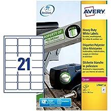 Avery Etiquetas de poliéster blanco - Etiquetas de impresora (Color blanco, Etiqueta para impresora autoadhesiva, A4, Poliéster, Laser, Rectángulo)