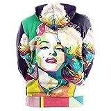 WLYX Sweat Shirt à Capuche Unisexe Imprimé en 3D Marilyn Monroe avec Poches à Cordon de Serrage pour Femmes Imprimé Pull à Manches Longues Sportswear