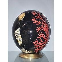"""UOVA DI STRUZZO DECORATE con motivo """"Shells & Coral on black"""""""