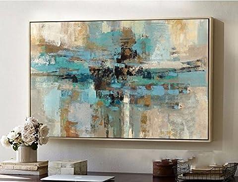 Haute qualité peint à la main d'origine abstraite moderne Art contemporain Peinture Bleu vert Art mural décoratif Texture Grande illustrations, Toile, bleu/vert, 32x48inch(80x120cm)