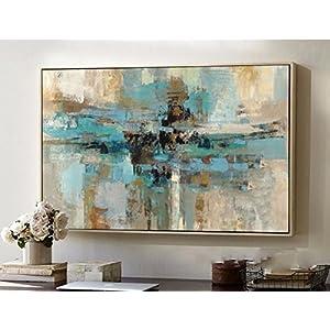 hand-painted original abstract modern art contemporary painting blue-green wall art decorative texture large artwork