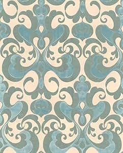 Gentle & divine papier peint en tissu non-tissé de style baroque 223131 ocre vert métallisé)
