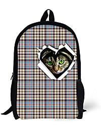 Preisvergleich für ThiKin Streifen Katze Print Stylish Filz Polyester Schwarz Doppel Reißverschluss Lässige Daypacks,Bookbags, Casual...