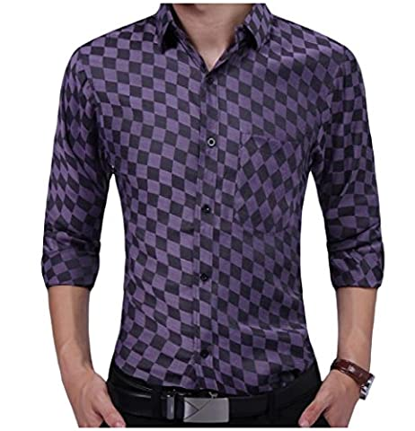 SportsX Men's Small Plaid Individuality Cotton Shirts Long Sleeve Shirt Purple S