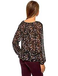 es Blusas Tops Negro Y M Camisetas Camisas Lazo Amazon PFqdUP