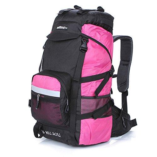 Cuckoo 45L Unisex impermeabile Zaino Camping Camping Escursioni Daypacks Sacca da montagna con copertura a pioggia rosa