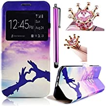 Vandot Cas View Window Painting Art Design PU Cuir Flip Shell Housse Coque Etui Case Cover Pour Samsung Galaxy S7 Edge Coque , Includs Smartphone Accessories Stylet et Anti dust Plug- Love