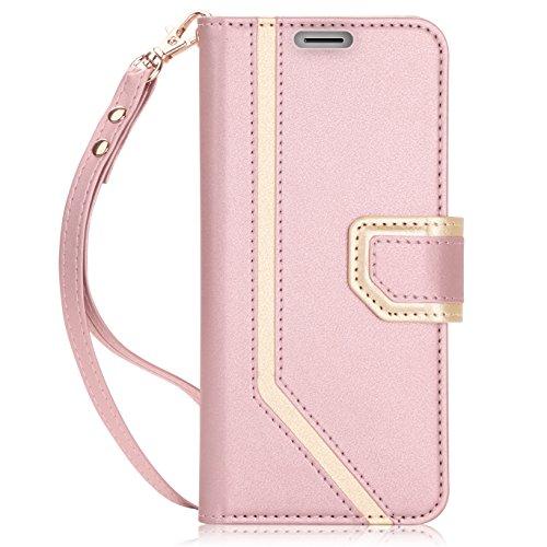 FYY Galaxy S9 Handyhülle,Samsung S9 Lederhülle mit [RFID Blocker][Spiegel][Standfunktion][Kartenfach] und Magnetverschluss Flip Brieftasche Schutzhülle für Samsung Galaxy S9 Handytasche-Rosa Gold