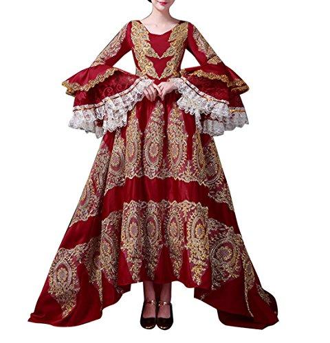 Damen Viktorianisches Kleid mit Krinoline Renaissance mittelalterliche Maxi Palace Royal Masquerade Kostüm (Rot, ()