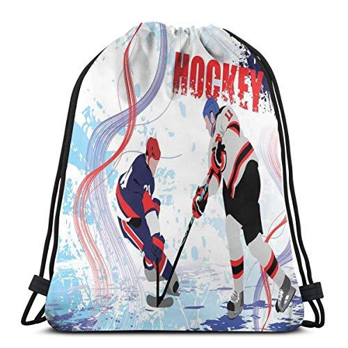 Velvet Ice Skating (LLiopn Drawstring Sack Backpacks Bags,Two Ice Hockey Players In Cartoon Style On Grunge Abstract Skating Rink Backdrop,Adjustable.,5 Liter Capacity,Adjustable.)