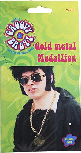 Gold Metal Medallion On Chain (accesorio de disfraz)