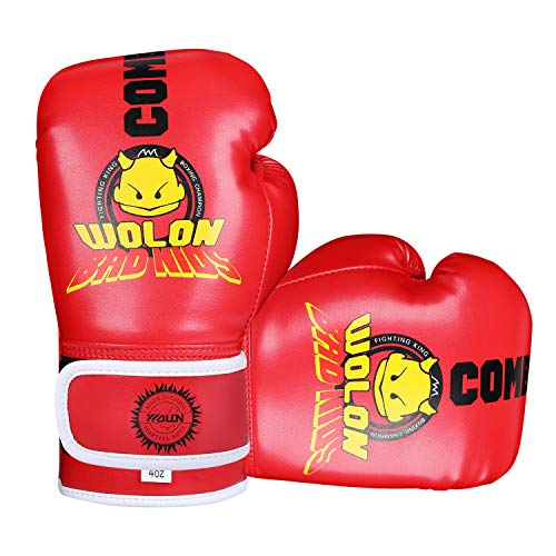 Kinder Boxhandschuhe 4oz Kinder Cartoon Sparring Boxhandschuhe Training Mitts Junior Punch PU Leder Alter 5-12 Jahre (rot 1)