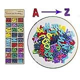 Starplast 130976 - Caja con Juego de Letras de Madera de Colores, 5 Unidades de Cada Letra