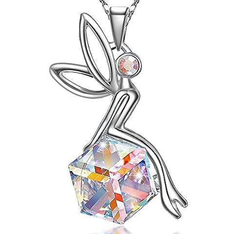 Schutzengel,Damen Kette Damen Halskette mit Engel Anhänger, österreichische Kristallen,Geschenke (Frauen Österreichischen Kristall-ring)