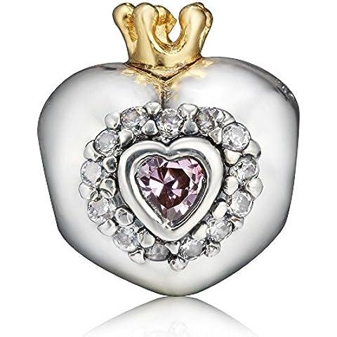 EvesCity(TM) Corona da principessa Cristallo Cuore Argento Sterling per braccialetti European braccialetti